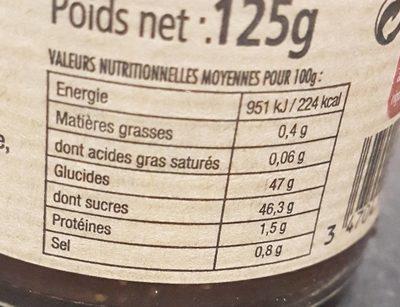 Confit de figue du Var au vinaigre de framboise - Nutrition facts