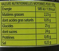 Compotee pomme caramel - Voedingswaarden - fr