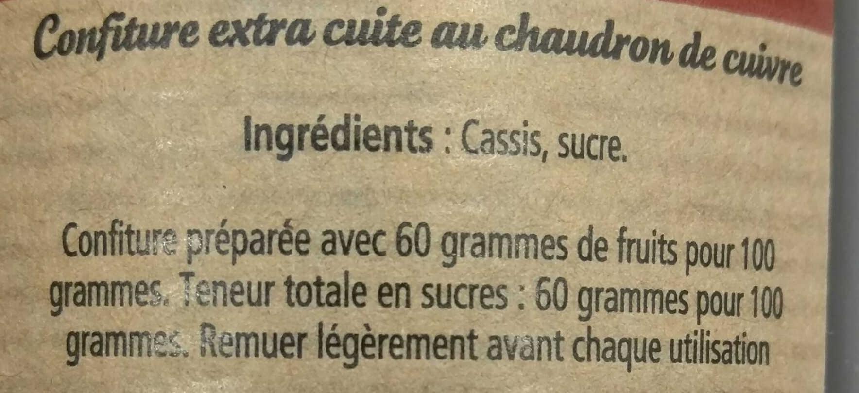 Cassis - Ingrediënten