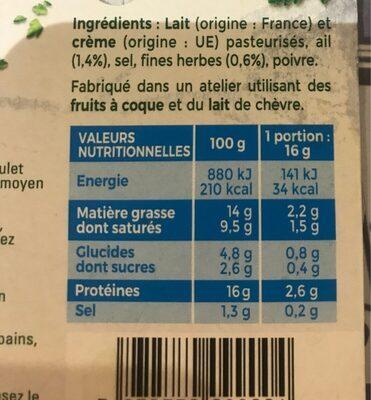 Tartare léger - Informations nutritionnelles - fr