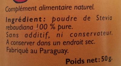 Stevia, poudre - Ingrédients - fr