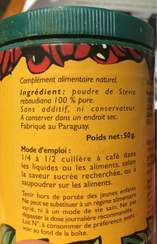 Stevia, poudre - Informations nutritionnelles - fr