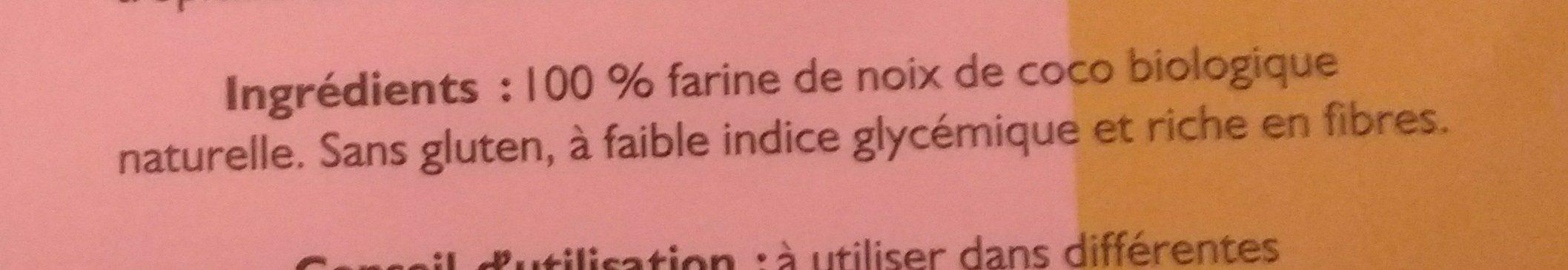 Farine de coco BIO - sachet de - Ingrédients - fr