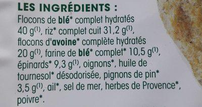 Galettes épinards-pignons - Ingrédients