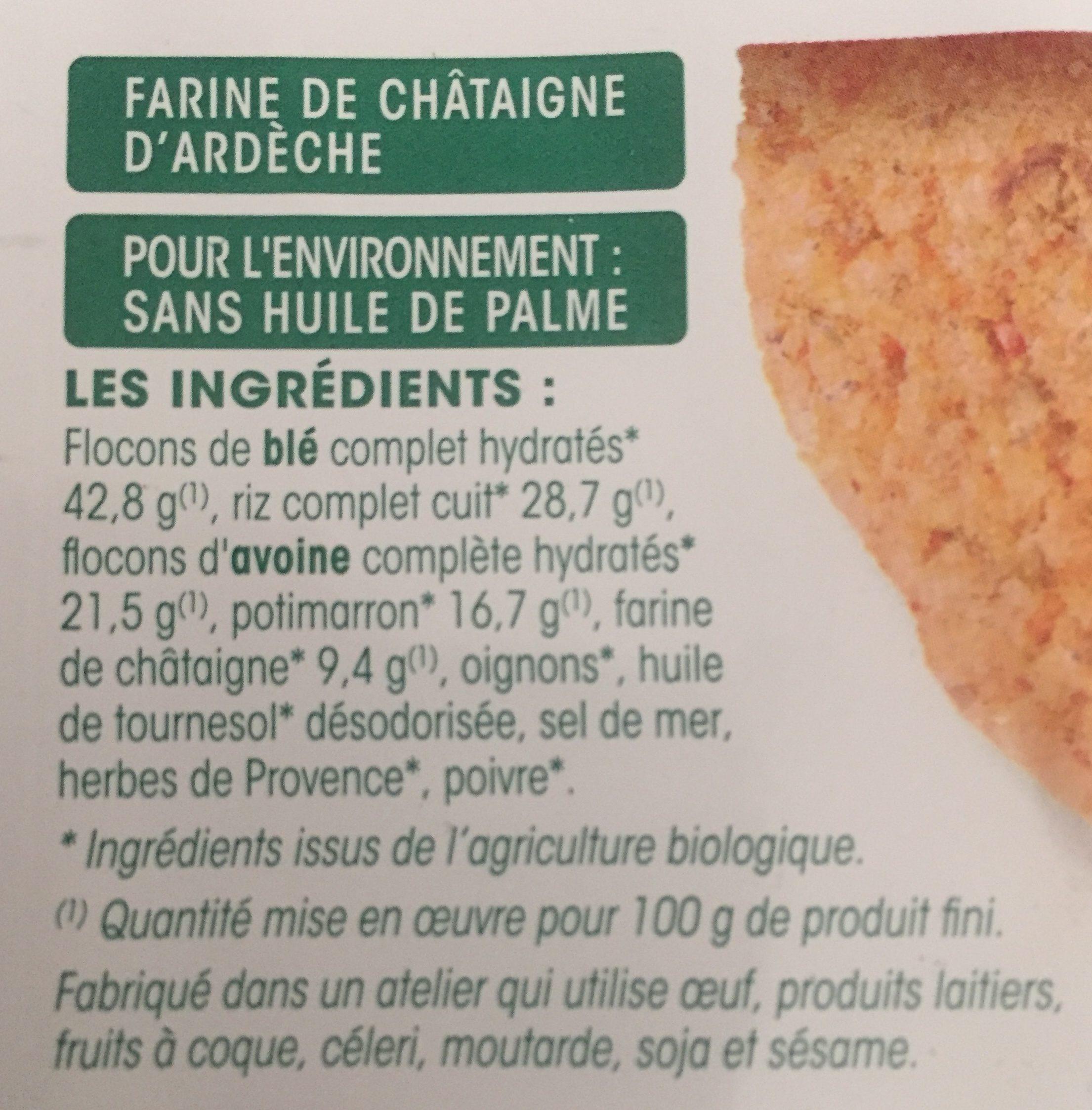 Galettes de céréales complètes Potimarron châtaigne - Ingredients