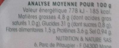 2 galettes Ratatouille - Nutrition facts