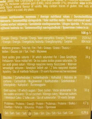 Chocmod Truffettes De France Fine Champagne French Truffles 200 G (pack of 4) - Voedingswaarden - fr