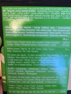 Truffes fantaisies BIO - Ingrediënten - fr
