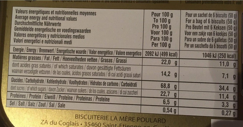 Les galettes de la Mère Poularde - Informations nutritionnelles