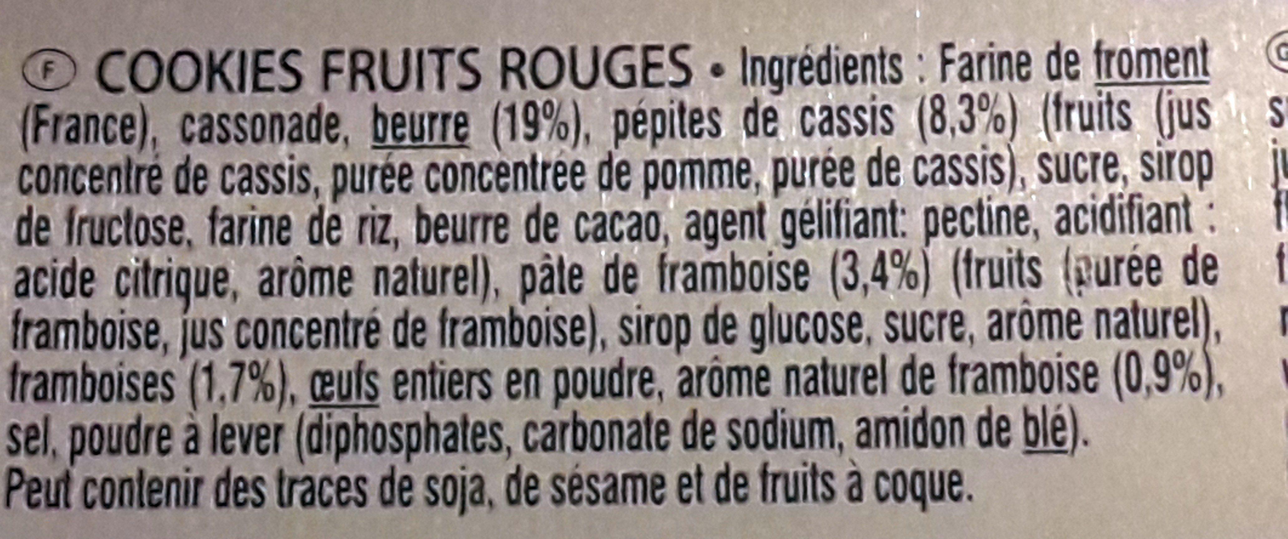 Les Cookies de la Mère Poulard Fruits Rouges - Ingredients - fr