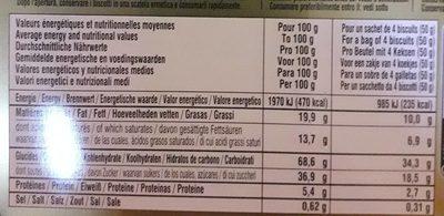 Les Cookies de la Mère Poulard Fruits Rouges - Nutrition facts - fr