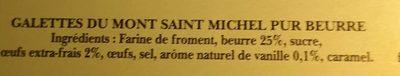Les galettes du mont Saint Michel - Ingrediënten - fr