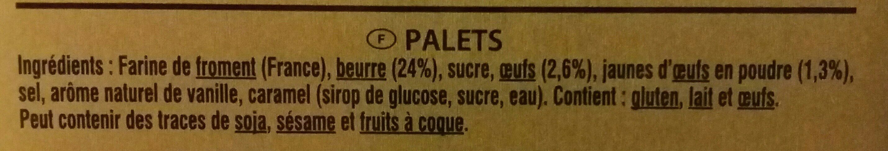 Palets Pur Beurre - Ingredients