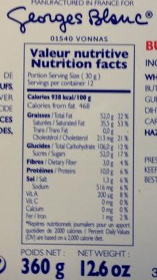 Palets pur beurre - Nutrition facts - fr