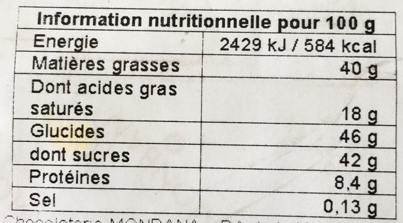 Chocolat au lait aux noisettes - Voedingswaarden