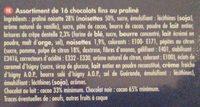 Chocolat fin au praliné - Ingrédients - fr