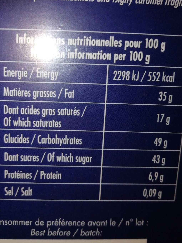 Chocolat fin au praliné - Informations nutritionnelles - fr
