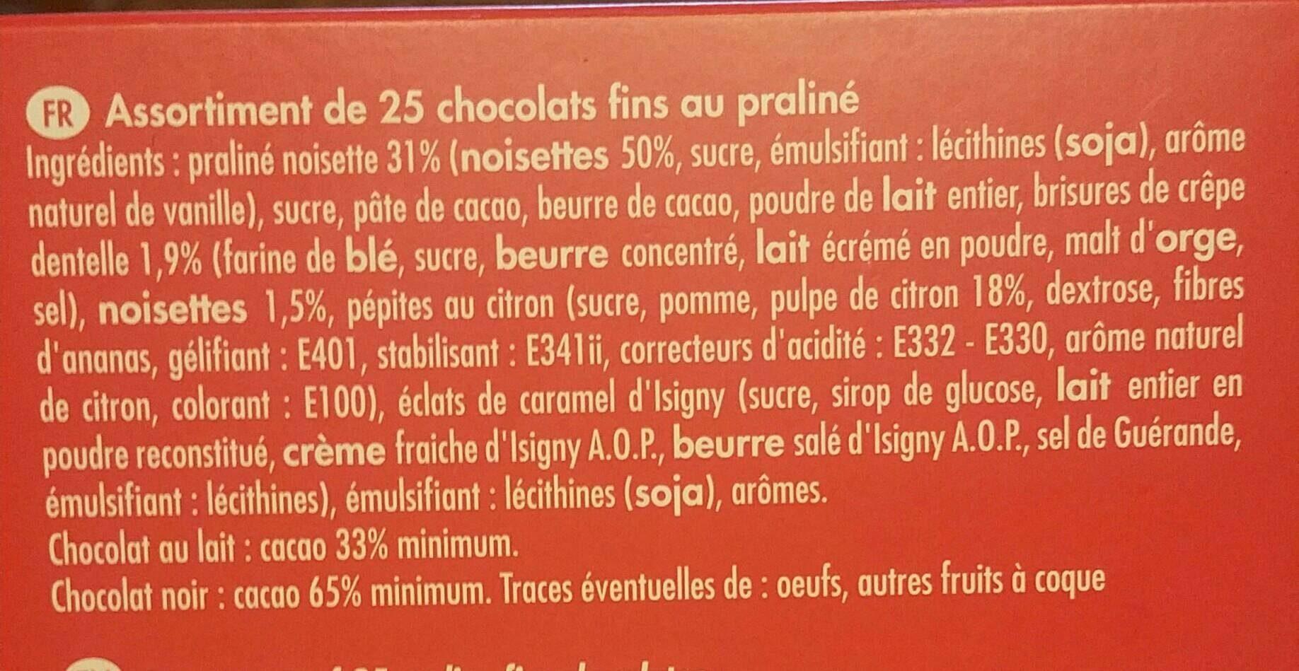 Chocolats fins au praliné - Ingrédients