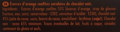 Ecorces D'oranges Confites Enrobées De Chocolat Noir - Ingrediënten