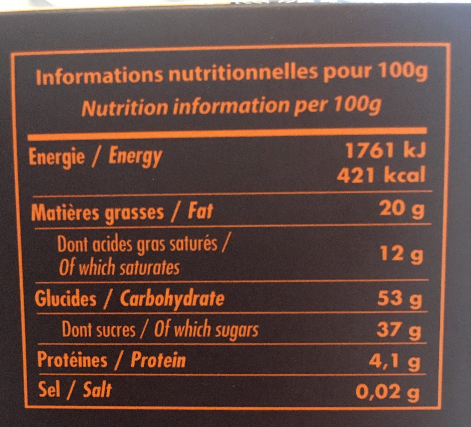Ecorces D'oranges Confites Enrobées De Chocolat Noir - Voedingswaarden