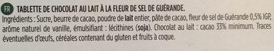 Chocolat lait fleur de sel - Ingrediënten