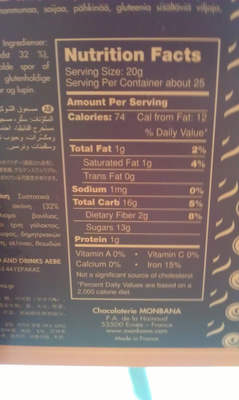Chocolat en poudre tradition - Nutrition facts