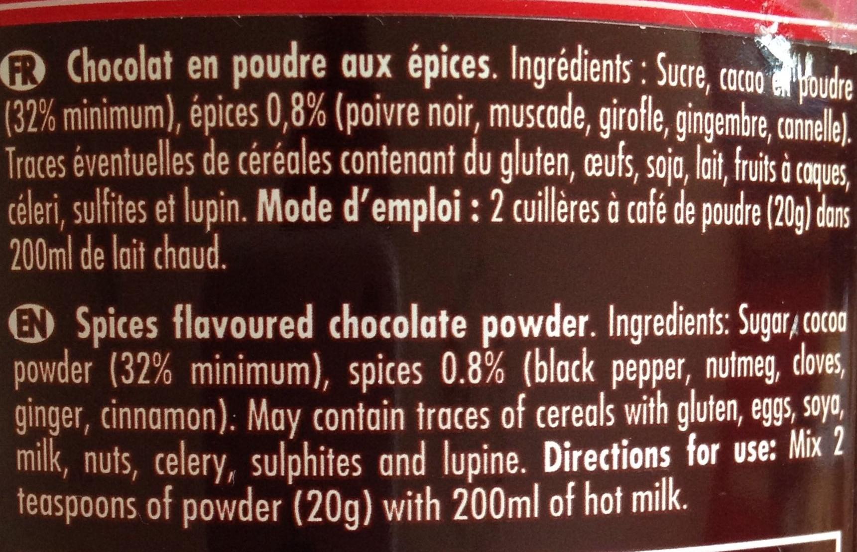 Chocolat épices - Ingrediënten - fr