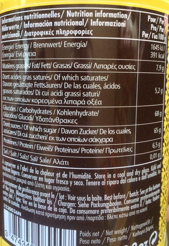 Chocolat Poudre Monbana Vanille - Informations nutritionnelles - fr