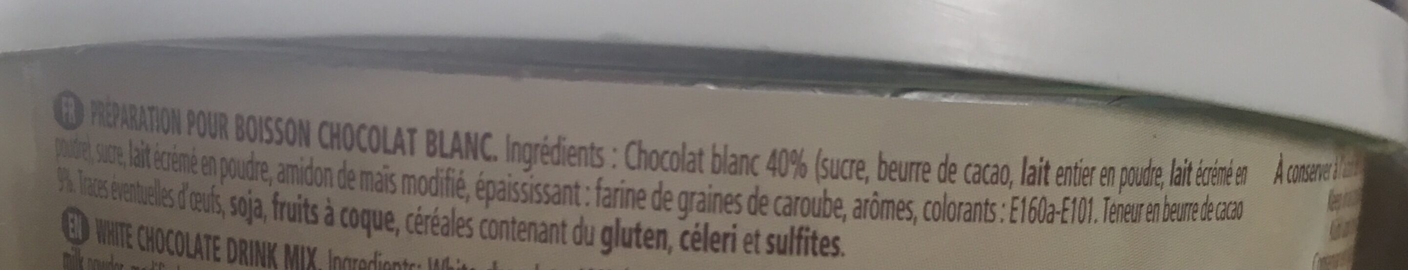 Monbana White Chocolate Trinkschokolade Tresor 500g Dose - Ingredients - fr
