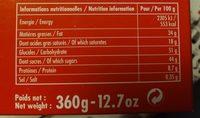 Chocolaterie Monbana - boite assortiment - Voedigswaarden