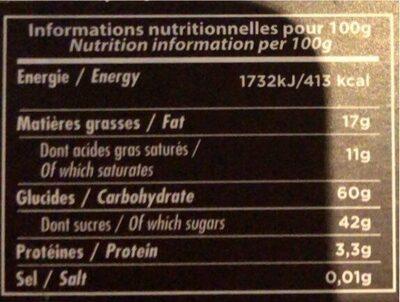 Orangettes au chocolat noir - Valori nutrizionali - fr
