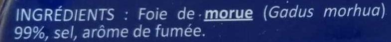 Foie de morue goût fumé - Ingrédients - fr