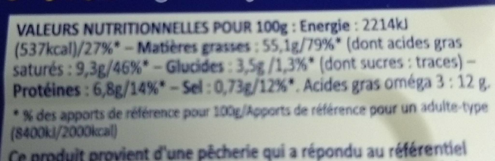 Foie de morue goût fumé - Informations nutritionnelles - fr