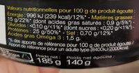 Thon en morceaux - Nutrition facts - fr