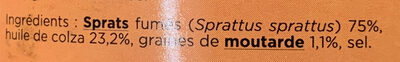 Sprats fumés de Riga graines de moutarde - Ingredients - fr