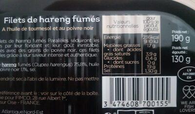 Filets de hareng fumes - Valori nutrizionali - fr