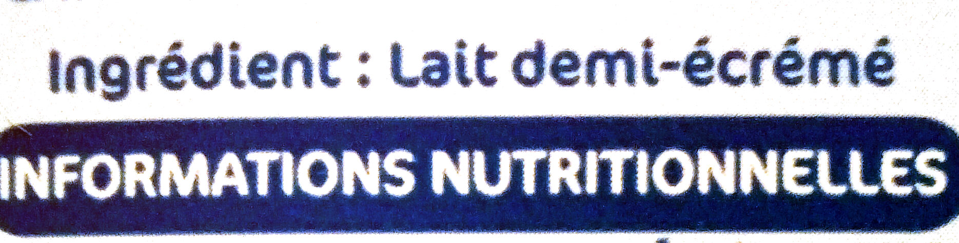 Lait demi écrémé Metral - Ingrediënten