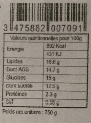 Sorbet Noix de Coco - Informations nutritionnelles - fr
