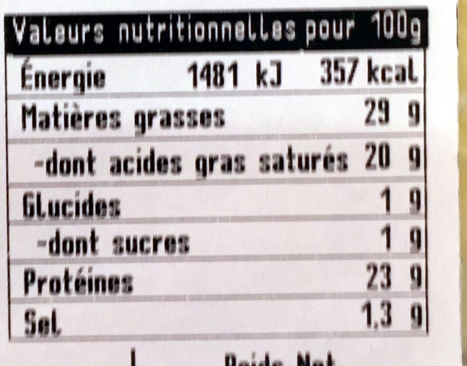 Morbier en tranchettes au lait cru - Informations nutritionnelles - fr