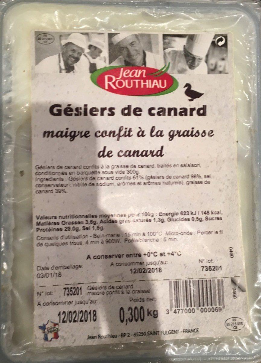 Gésiers De Canard Maigre Confits - Product