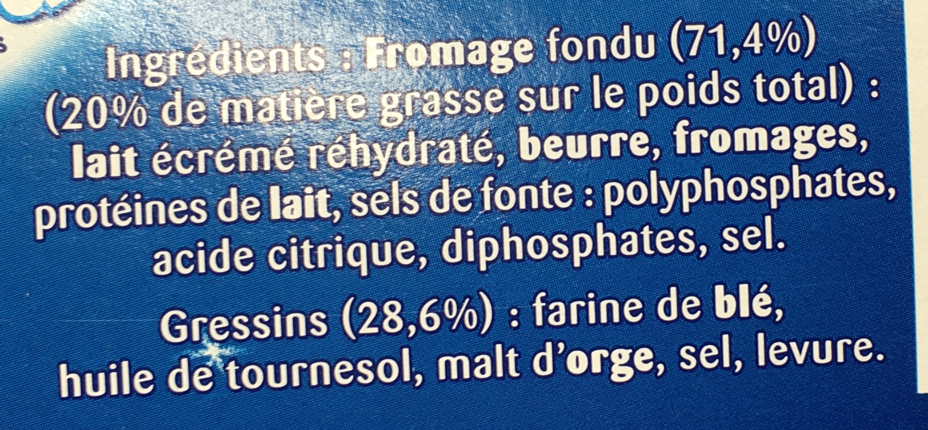 Fromage fondu et gressins - Ingrediënten - fr