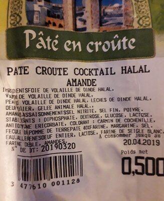Pâté en Croûte Cocktail Halal Amandes - Sans marque - 500 g