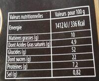 Brioche tressée au sucre - Informations nutritionnelles - fr