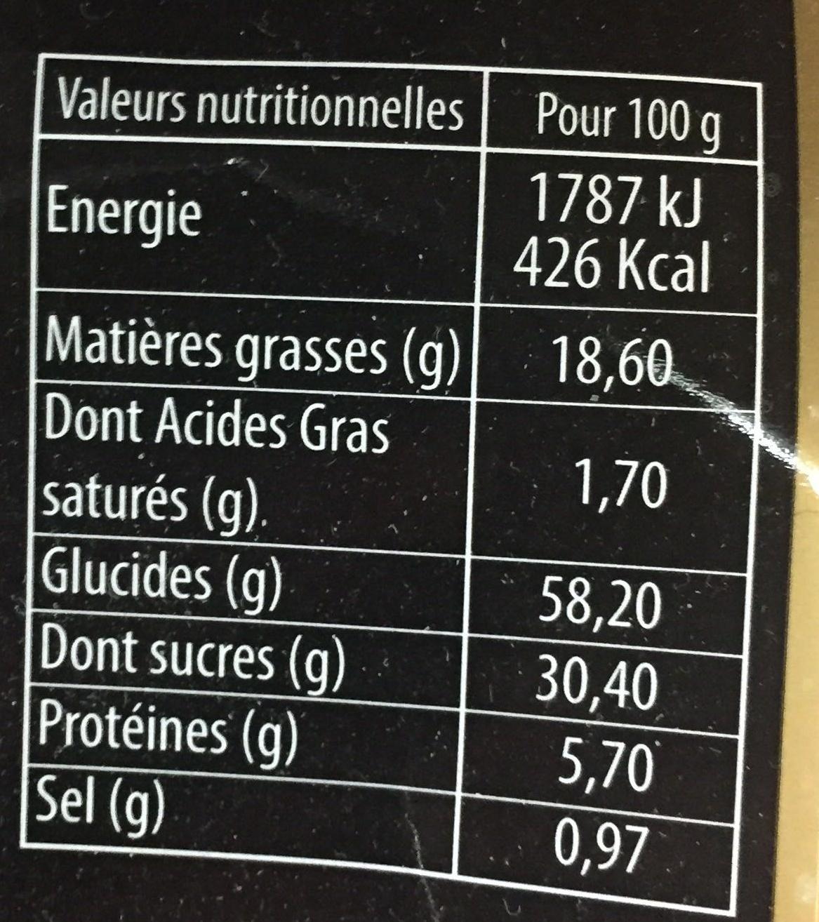 Madeleines coquille aux oeufs frais - Informations nutritionnelles