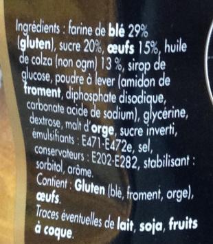 Madeleine coquille aux oeufs - Ingrédients