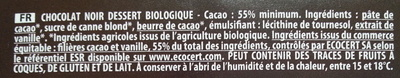 Chocolat noir dessert 58% cacao - Ingredients