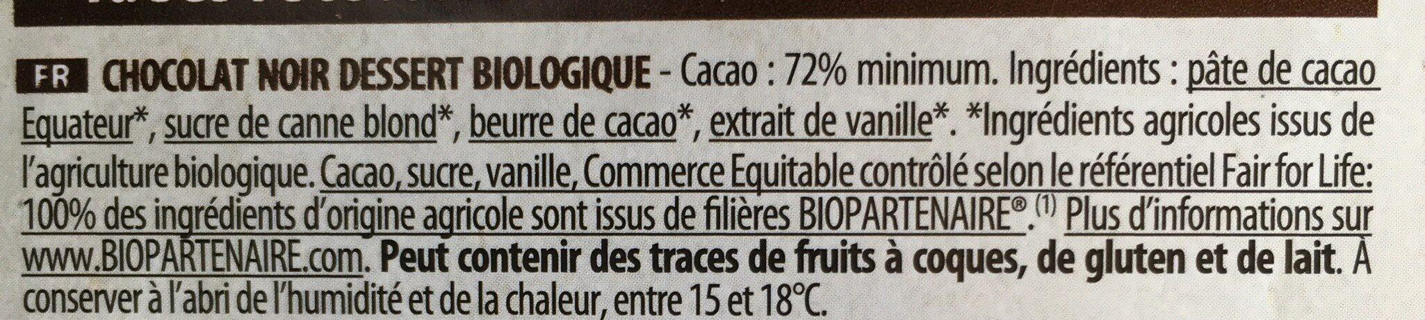 Tablette Dessert Noir Corsé 72% Cacao - Ingrédients - fr