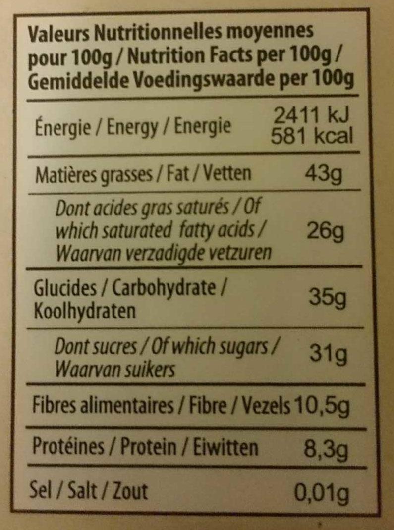 Tablette Dessert Noir Corsé 72% Cacao - Informations nutritionnelles - fr