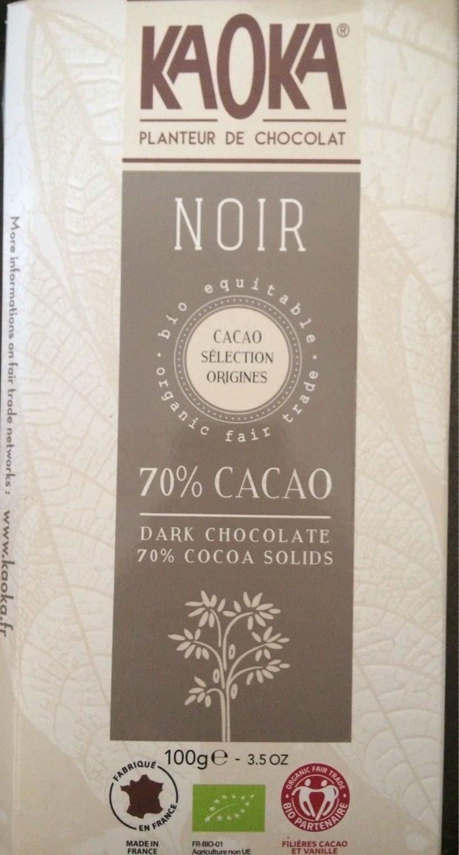 chocolat noir 70 cacao bio quitable kaoka 100 g. Black Bedroom Furniture Sets. Home Design Ideas