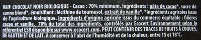 Chocolat noir 70% cacao bio équitable - Ingredients